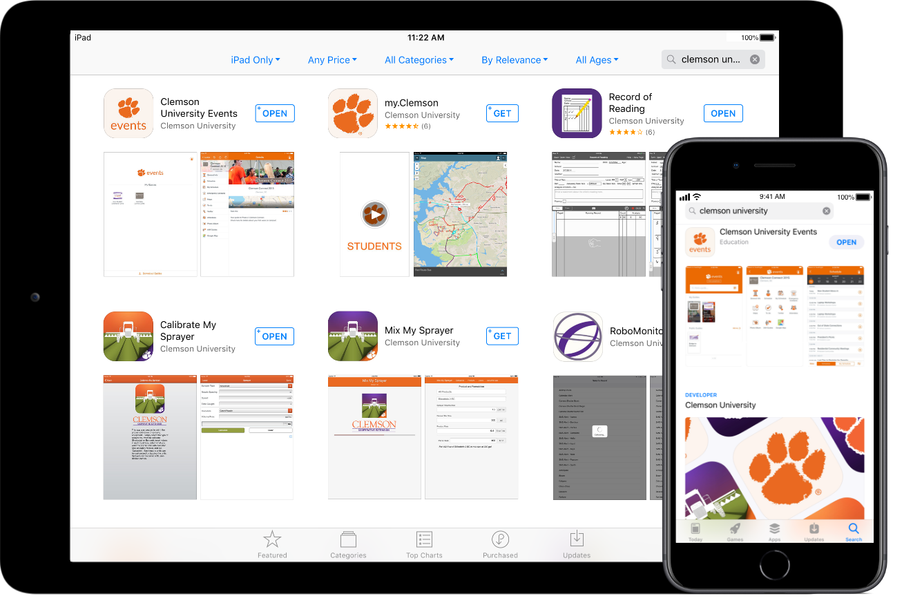 iPad and iPhone showcasing Clemson mobile applications