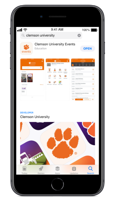 iPhone showcasing Clemson mobile applications